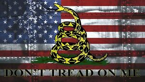 American Flag Don T Tread On Me Gadsden Distressed Bumper Sticker Vinyl Decal