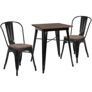 23 5 Square Black Metal Restaurant Table Set With Walnut Wood Top And 2 Chairs