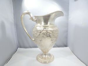 Early Large Frank M Whiting Water Pitcher Champlain Pattern 26 9 Troy Ounces