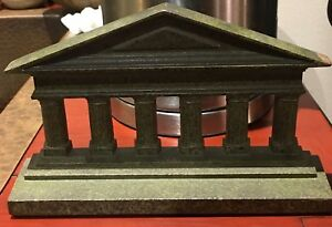 Vtg Steel Iron Bookend Mantle Statue Greek Roman Building Monument Lincoln