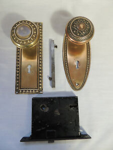 2 Antique Brass Door Knobs With Back Plates Mortise Lock