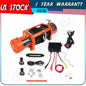 12v 13000lbs Electric Winch Towing Truck Trailer Synthetic Rope Ip67 12000lb 12v