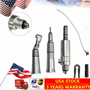 Dental Slow Low Speed Handpiece Set 4 Holes Contra Straight Air Motor Wrench New