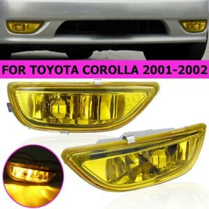Front Bumper Fog Light Lamps For Toyota Corolla 2001 2002 yellow Lens w bulbs