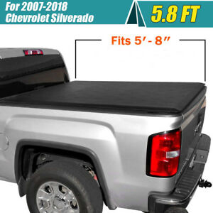 For 07 18 Chevrolet gmc Chevy Silverado 5 8ft Bed Roll Up Tonneau Tonno Cover