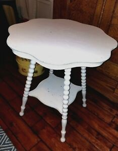 Vintage Barley Twist Leg Table 25 Antique Scalloped Round Top Painted White
