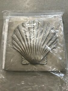 1 New Brass Elegans 27s Pwt Shell Design Solid Metal4x4 Accent Tile
