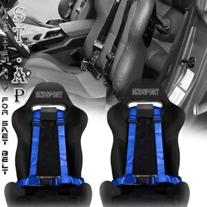 Fit Car 2x Two Jdm 4 Point Racing Safety Harness 2 Inch Strap Seat Belt Blue