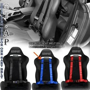 Adjusters Jdm 4 Point 2 Strap Drift Racing Safety Seat Belt Buckle Harness Blue