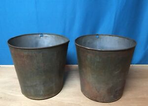 2 Nice Old Tin Sap Bucket Great Decor Flowers Planters