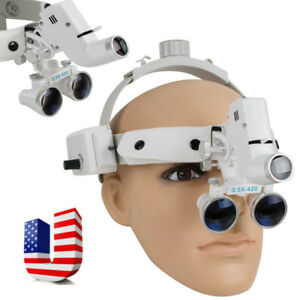 1pc 60 Mm 3 5x 420mm Dental Headband Surgical Binocular Loupes Leather Led Light