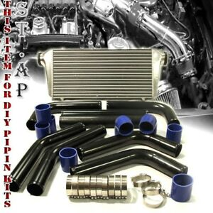 Jdm Bar plate 31 turbo Intercooler 2 5 8pc Aluminum Piping Kits Pipe Blk blue