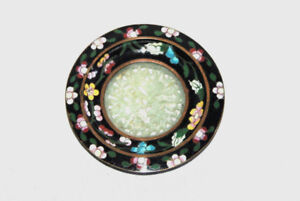 Antique Republic Period Chinese Cloisonne Plate With Jade Center Hand Carved