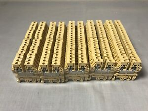 Lot Of 100 Cabur Cbd 4 Din Rail Terminal Block 4mm Tan Color Awg20 10 600v 25a