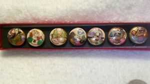 New In Box Set Of 7 Satsuma Porcelain Japanese Immortal Gods Buttons