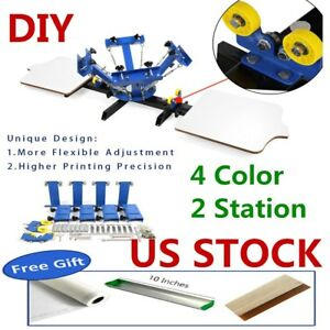 Us 4 Color 2 Station Silk Screen Printing Machine 4 2 Diy T shirt Press Printing