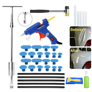 Car Auto Paintless Dent Removal Repair Tool Kit Slide Hammer T bar Glue Gun Tab