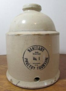 Mccoy Sanitary Stoneware Poultry Fountain Feeder Waterer