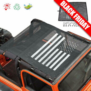 Us Flag Roof Mesh Sunshade Top Cover Uv Protection Fit 1997 Jeep Wrangler Tj