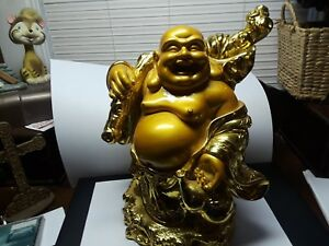 Large 10 Tal Laughing Buddha Resin Good Luck Treasure Bag