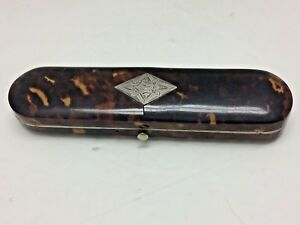 Antique Faux Tortoise Shell Sterling Inlay Oblong Box
