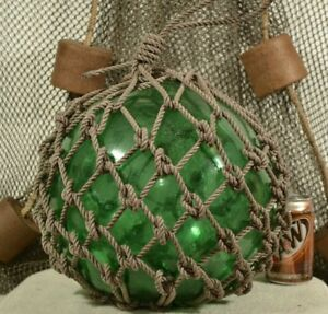 Vintage Glass Fishing Float In Green