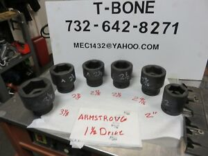 Armstrong Professional 6 point Impact Sockets Sae 1 1 2 Drive Snap on Proto