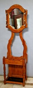 Vintage Colonial Country Hall Tree Top Mirror Umbrella Hat Stand Coat Rack