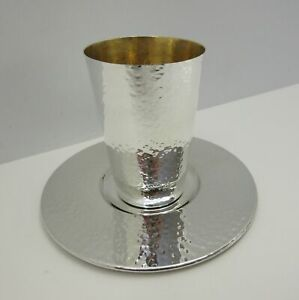 Fine Italy 925 Sterling Silver Gilded Handcrafted Hammered Modern Cup Tray