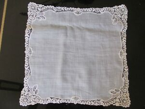 Vintage Slightly Off White Wedding Lace Linen Hanky Handkerchief 10