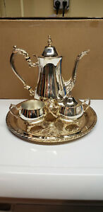 Oneida Silver Plate Tea Coffee Set W Serving Tray Teapot Pot Silverplate