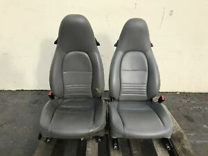 1999 Porsche 911 996 Front Seats Grey Gray Leather Used Power Non Heated