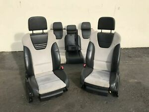 2005 Audi S4 B6 Recaro Seats Set Leather W Gray white Suede Inserts Alcantara