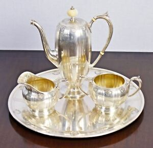 Gorham Wm B Durgin Co Sterling Silver Coffee Set And Tray 4 Pieces