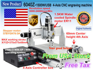 us Stock 4 Axis 1500w Usb Mach3 6040 Cnc Router Engraving Milling Machine 110v