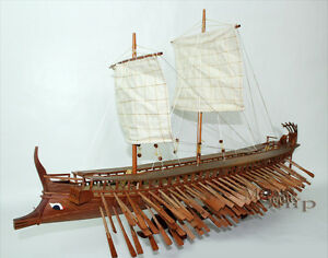 Ancient Trireme Greek Warship 400 B C Handcrafted Model Ship