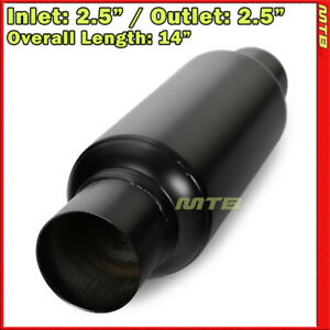 Stainless Steel Black Resonator Muffler 2 5 Inch In Out Weld on Car Truck 232686