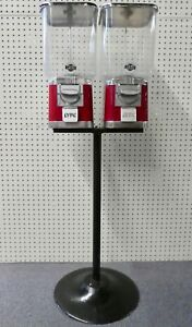 45 h Lypc Pro Line Double Gumball 25 Cent Machines Atop Lypc Stand Both Work