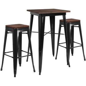 23 5 Black Metal Bar Height Restaurant Table Set Walnut Wood Top And 2 Barstool
