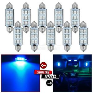 10x Blue 12led Epistar Car Bulbs Interior Lights Dome Map Lamps 12v 1 7inch