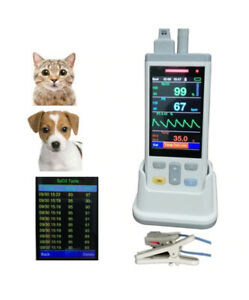 3 5 Lcd Veterinary Handheld Pulse Oximeter With Temp Probe Spo2 Finger Probe
