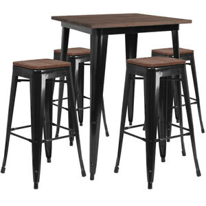 31 5 Black Metal Bar Height Restaurant Table Set Walnut Wood Top And 4 Barstool