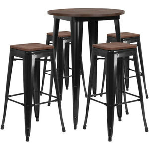 30 Balck Metal Bar Height Restaurant Table Set Walnut Wood Top And 4 Barstool