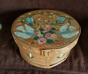 Vintage Large Round Wood Cheese Box Sewing Box Hand Painted Cloth Lining Cusion