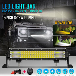 8mode 15inch 1512w Led Light Bar Quad Row Combo Suv 4wd Driving Lamp Remote 16