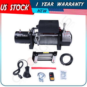 Offroad Electric Recovery Winch 10000lbs 4wd Steel Cable For 87 18 Jeep Wrangler
