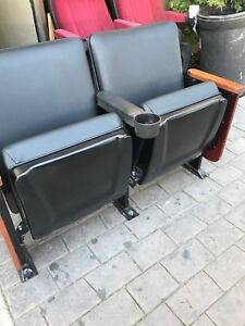 Lot Of 50 Movie Cinema Chairs Theater Seating Fixed Back Used Seat Leatherette