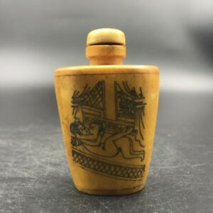 Bone Crafted Snuff Bottle Exotic Ancient Figurines Painted T96