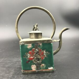Chinese Antique Ceramic Teapot With Tibetan Silver Carving Monkey Outside C457