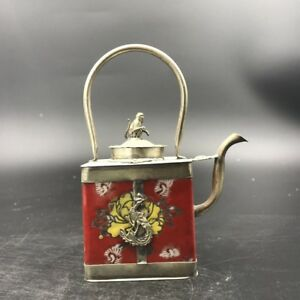 Chinese Antique Ceramic Teapot Outsourcing Tibetan Silver Carving Monkey C463